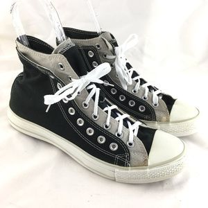High top sneakers double upper tongue black gray